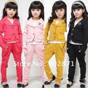 HOT ! 4 sets/lot  2014 New Girls chic suit +pants - Kids GIRLs sweat suit jogging sets Children's suits  Lowest price