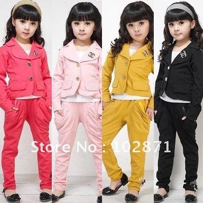 HOT ! 4 sets/lot 2015 New Girls chic suit +pants - Kids GIRLs sweat suit jogging sets Children's suits Lowest price(China (Mainland))