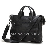 China Wholesale Vintage Leather Men's Black Messenger Bag Briefcase Laptop Bag  #7120A