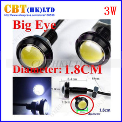 3W Tail light High Power LED Larger Lens Ultra-thin car led Eagle Eye Tail light Backup Rear Lamp White Color(Hong Kong)