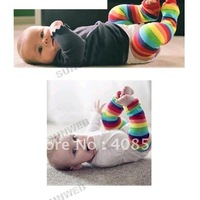 New Colorful Strips 1x Pair Baby Child Toddler Leg Warmer Cover Rainbow Socks free shipping 5881