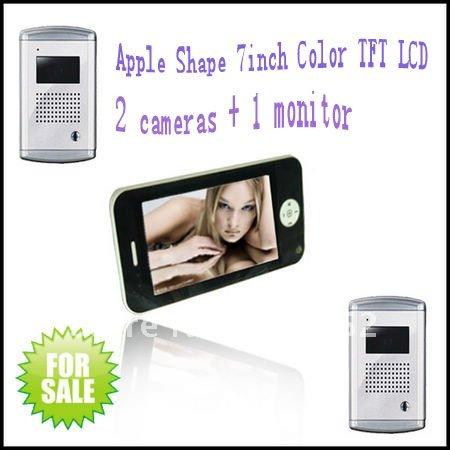 Free shipping video door phone system ( 2 pcs Luxury aluminium cameras+1 pc Apple shape 7inch indoor monitor)(China (Mainland))