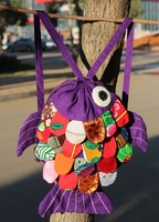 Wholesale 2012 new national characteristics handmade patchwork auspicious fish shoulder bag Cute Children's Backpack 10pcs/lot