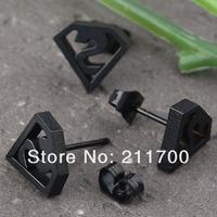 1 pair Black Steel Superman Men's Cool Ear Stud Earrings Christmas Jewelry Gift