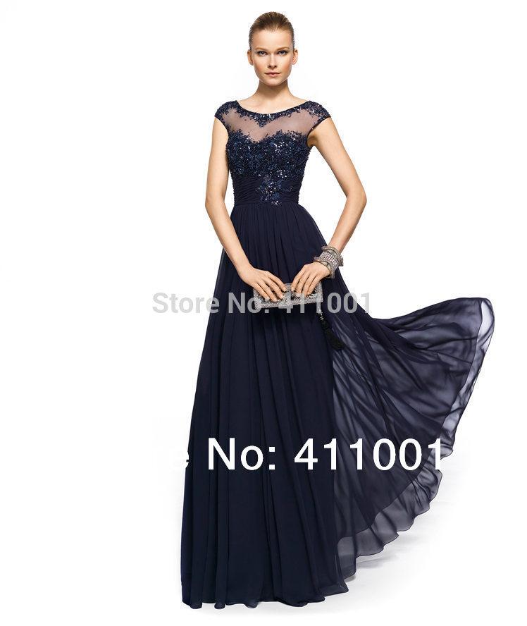 Bleu marine vraie photo de sol- longueur en mousseline de soie robe de soirée robe de bal xs s m l xl 2xl 3xl 4xl fait sur mesure