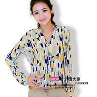 Free shipping Women 2012 fashion color blocking blouse, long sleeve silk shirt lady blouse women's OL Collar shirts
