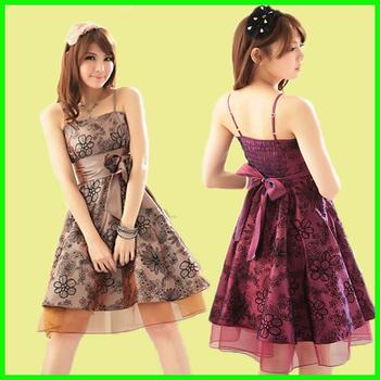 formal dresses new fashion 2014 short  elegant printing flower spaghetti strap one-piece dress bridesmaid dress