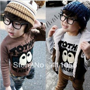 2013 autumn big eyes male girls clothing baby long-sleeve T-shirt basic shirt tx-0012