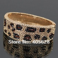 Crystal leopard print bangle, gold plating color with multicolor stones, fast delivery