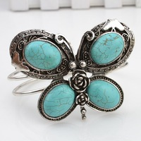 New arrival Vintage jewelry tibetan silver turquoise butterfly bangle bracelets 0 B505