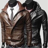 Wholesale - Men's Multi zipper Slim washing synthetic leather motorcycle Jackets artificial leather  Coat Outerwear