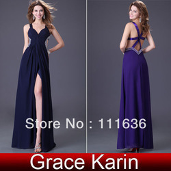 Free Shipping!! 2012 Fashion 1pcs Sexy V-neck Strap Long Evening Dress, Separate Front Formal Party Prom Dress Chiffon CL1236(China (Mainland))