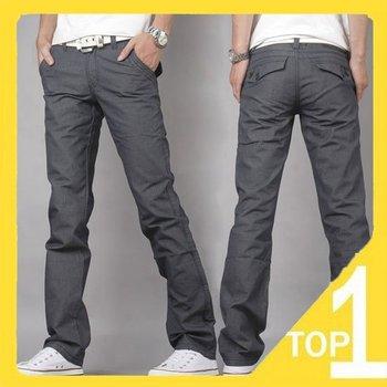 Wholesale 2014 new Men Slim Fit Classic Jeans long Trousers Straight Leg Grey men jeans famous  brand designer pants