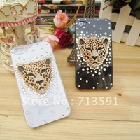 Hot sale Bling bear diamond New 3D Leopard head   phone hard Case Cover for iphone4/4s Free shipping