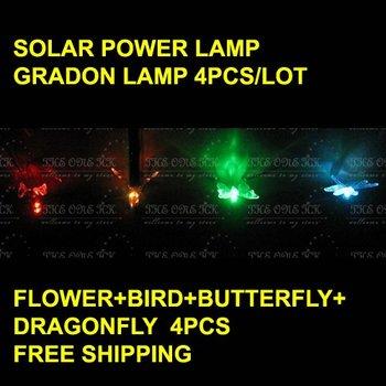 solar garden light lamp flower+dragonfly+butterfly+bird 7color free shipping