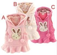 New Baby girl Rabbit Vest dress bunny Rabbit Fleece warm waistcoat vest polar fleece dress ,(5pcs/lot