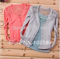 Hot Selling,Free Shipping: 2013 autumn back cutout sweater women's air conditioning shirt cardigan li12001