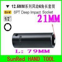 "SunRed BESTIR 12.5MM 1/2"" Dr.6PT impact deep socket,size:21mm 79MM, Maintenance tools socket ,NO.63421 freeshipping"