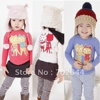 autumn New fashion baby girl's long-sleeved t-shirt, Girl's nifty cat three color long sleeve T-shirt (5pcs/lot)
