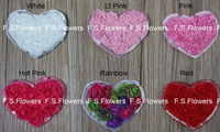 Free ePacket/CPAP 7.5x6CM chiffon rosettes heart sewn with shinny beads,hair accessories,chiffon heart,100pcs/lot,6 stock colors