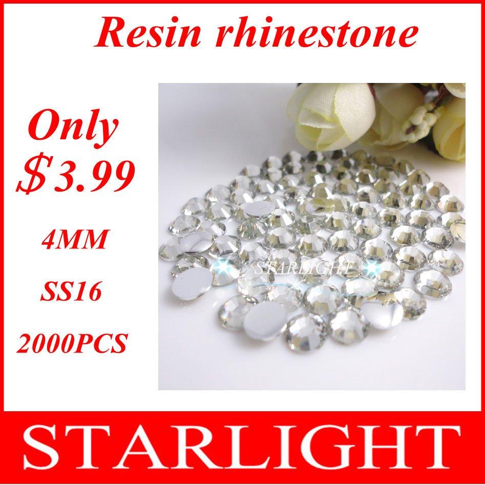 Big Discount ! 2000pcs 3.99USD Free shipping crystal ss16 4mm Resin rhinestone flatback(China (Mainland))