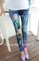 12% Off New faux denim long leggings Korea slim cartoon beauty print pants Ladies stretch skinny trousers Free shipping LZ101