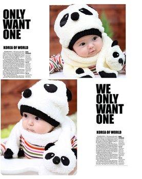 Super Cute And Warm Children Wool Panda Cap Match Scarf ,Cartoon Hat with Scarf(1Set =1 Cap+ 1 Scarf), Free Shipping 2080601