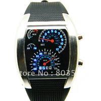 2012 Newest Blue Binary LED Light Dot Matrix Day Date Motor Panel Black Sport Mens Watch Wristwatch