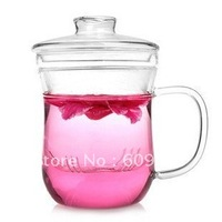 350ML Free shipping wholesale Heat resistant glass Tea cup  BEST QUALITY personal office tea cup three pieces glass puer cup