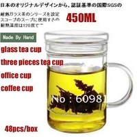 Free shipping wholesale Heat resistant glass Tea cup 450ml  BEST QUALITY personal office tea cup three pieces glass puer cup