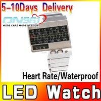 Hot sale Silver Alloy Heart Rate Heartbeat LED Watch Man Wrist Clock Fashionable