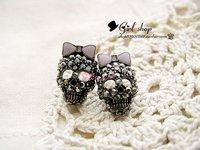 New hot style Lots 36 pairs of beautiful Retro Black Skull Earrings