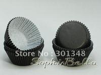 100 pcs plain black coffee shop supplies cupcake cases paper liners baking cups B156 K