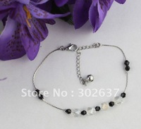 12PCS Clear/black Glass Beaded Chain Anklets #21979