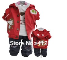 Prom baby child monkey clothes sets kids 3pcs suit hoody+long sleeve shirt