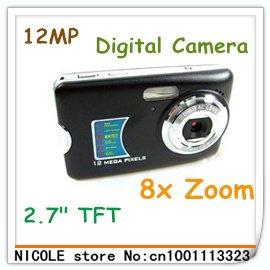 Free shipping! Cheap ultra thin digital cameras 12 MP inch LCD Digital Camera 8X Digital Zoom+Li-battery+12MP Max+anti-shake(China (Mainland))