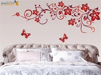 Free shipping:Dark Red Flowers Pattern 110*60cm DIY Repetitive Wall Art Home 3D Removable Wall Sticker 722