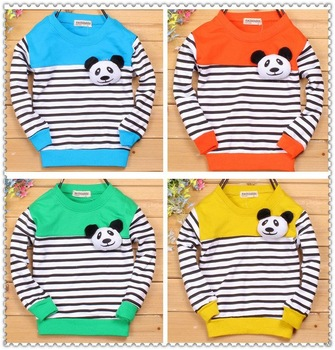 Ready stock!! Kids clothes 1~5years Cute bear Blouses Baby boys girl T-shirt  children's Summer Wear long Sleeve Clothing
