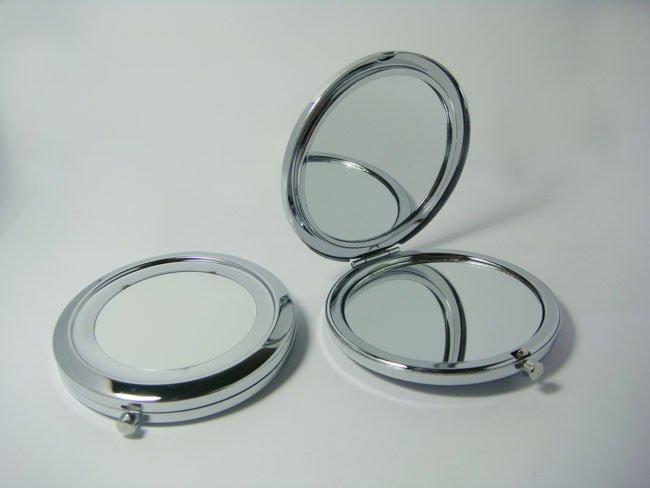 Silver Compact Mirrors DIY Portable Metal Makeup Mirror 2X Magnifying 2PCS/Lot Free Shipping(China (Mainland))