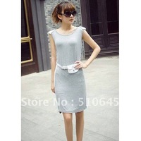 2012 New Sweet Elegant Silk Casual Dress Knee-length with Sleeveless and Scoop Neck-Belt Included-55820
