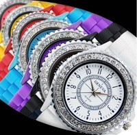 Free shipping Classic Gel Silicone Crystal Men Lady Jelly Watch Analog Quartz crystal stone wrist watch Sample$15 8-803