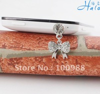 Mobile Phone Accessories!IP146!10pcs/Lot!! Trendy Alloy Rhinestone Ribbon Lady Fashion Costume Crystal Cell Phone Pendant