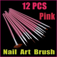 5 sets/lot 12PCS Pink Handle Nail Art Design Pen Painting Dotting Pen Nail Art Brush Set Wholesale