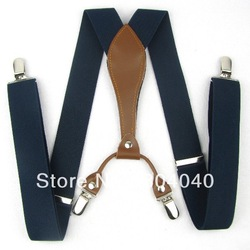 Adult Men Braces Women Unisex Suspenders Adjustable Leather Fitting Four Metal Clip-On Navy Blue 41&quot;*1.3&quot;(105cm*3.5cm) BD607(China (Mainland))