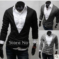 Free Shipping 2012 new fashion men's big V-neck slim knitwear irregular button cardigan sweater ,3 colors ,M-XXL ,995962