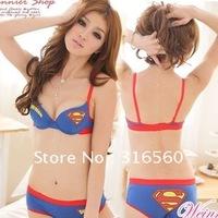 Best selling!!Korea order superman girls underwear cotton bra set lingerie  Popular Underwire bra and briefs Nude AB cup 1set