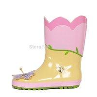 2014 New Flower Style Children Rain Boots Baby Boots Flowers Kids Girl Bowtie Rubber Boots Children Shoes Rubber Boots Chuteira
