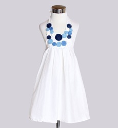2013 High Quality Children Girl's Sleeveless White Flower Dress 5pieces/lot Ready Stock(China (Mainland))