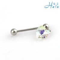 10PCS/Lot Free Shipping BT002 Stainless Steel 10MM crystal tongue ring for sale