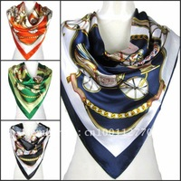 "Classic  Womens Wagons Print Big Square Silk-like Satin Scarf Wrap Kerchief  Muffler 35""*35"" FOUR Colors"